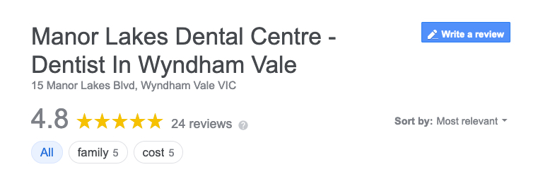 Screenshot of Manor Lakes Dental Centre with 5 Star Reviews on Google from residents of Werribee