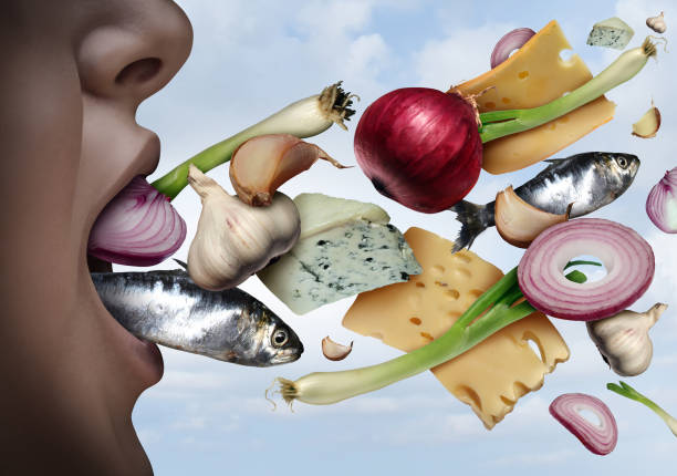 Foods with a strong odour like garlic, onions, cauliflower, cheese, fish, processed foods like ham and alcohol casue bad breath